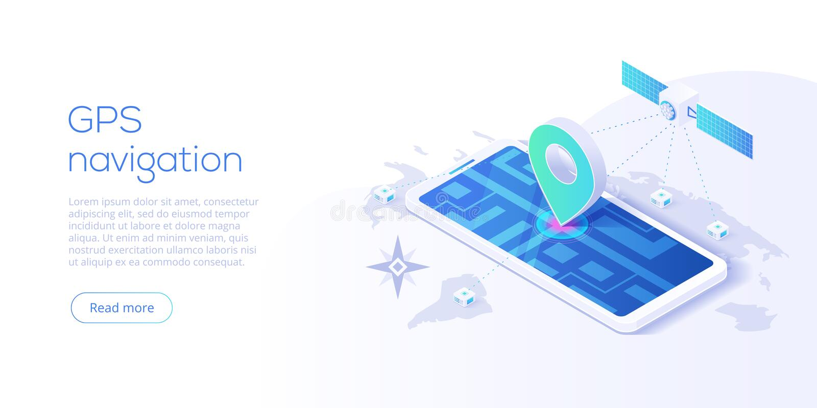 GPS navigation app concept in isometric vector illustration. Smartphone application for global positioning system. Satellite royalty free illustration