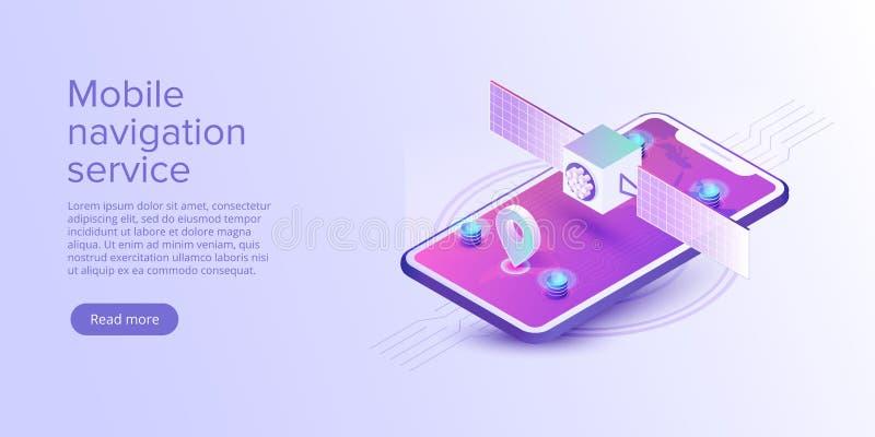 GPS navigation app concept in isometric vector illustration. Smartphone application for global positioning system. Satellite. Radionavigation or tracking system royalty free illustration