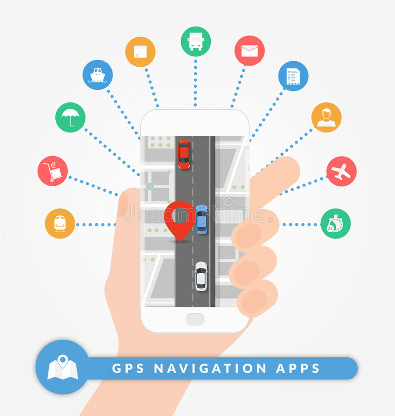 GPS navigation apps on mobile phone. Road navigation concept with city map, pin and road with cars. vector illustration