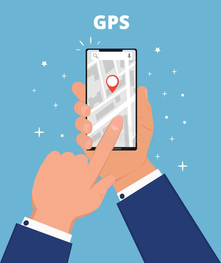 GPS navigation flat vector. Hand is holding smartphone with app, searching location in the city vector illustration