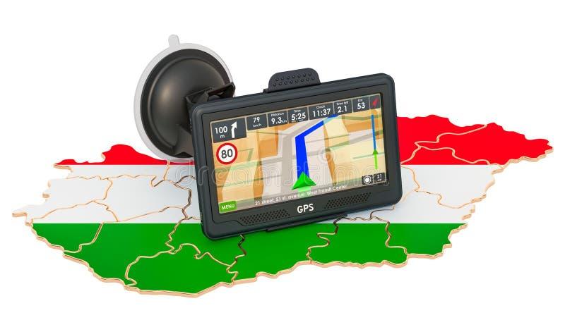 GPS navigation in Hungary, 3D rendering 库存例证