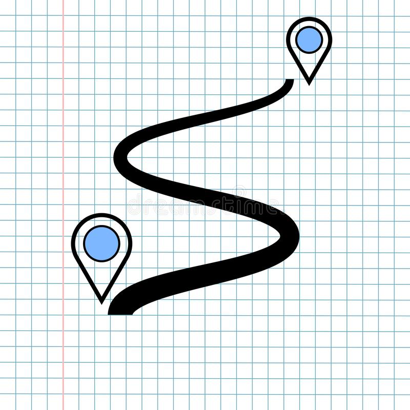 GPS Navigation Icon Sign Concept, Vector Graphic Design of Direction Navigator Symbol for Travel Destination., Traffic Label and royalty free stock image