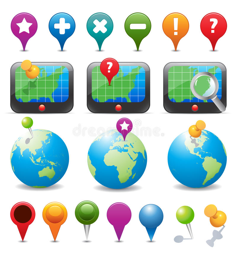 GPS Navigation Icons. High detail illustration of navigation icons