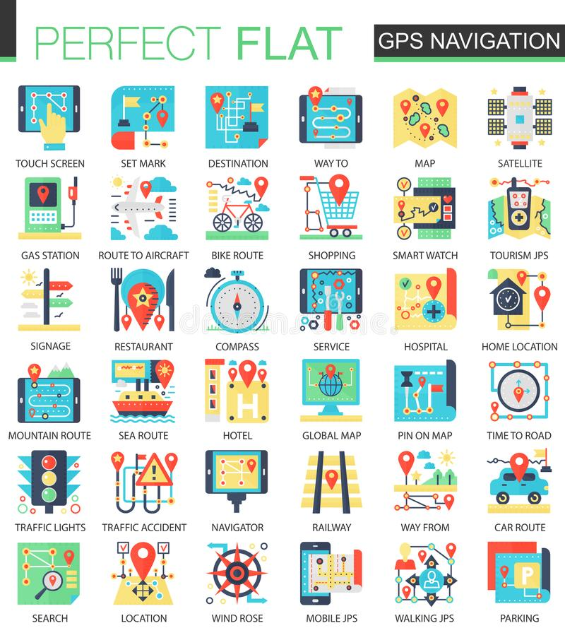Gps navigation location vector complex flat icon concept symbols for web infographic design. stock illustration