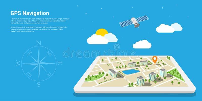 Gps navigation map. Flat style design of web banner template for website or infographics, mobile navigation GPS system, destination location, spotting and find vector illustration