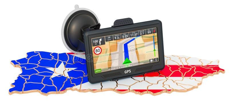 GPS navigation in Puerto Rico, 3D rendering 皇族释放例证