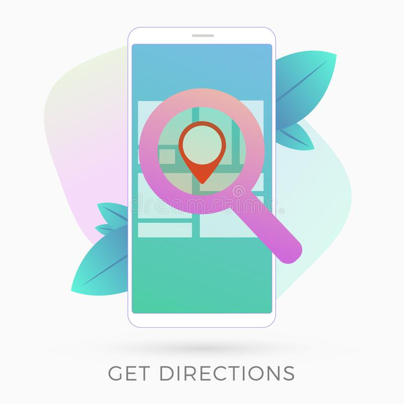 GPS navigation service app flat vector icon. Get directions and go to the point on map with smartphone gps navigator application. stock illustration