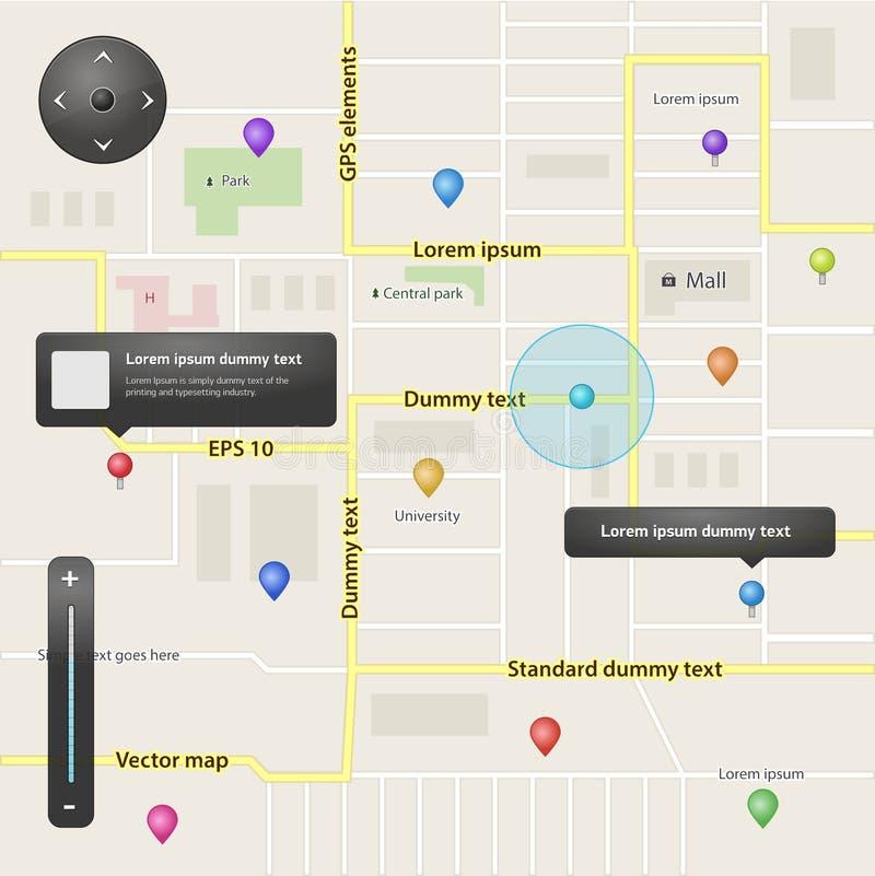 GPS navigation set of vector elements stock illustration
