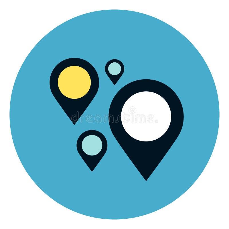 Gps-Navigation steckt Ikone auf rundem blauem Hintergrund fest stock abbildung