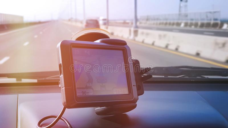 Small GPS Navigation System Inside the Car. GPS Navigation System Inside the Car royalty free stock image