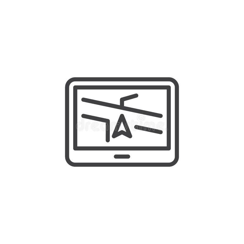Gps navigation system line icon. Linear style sign for mobile concept and web design. Car navigation device outline vector icon. Symbol, logo illustration stock illustration