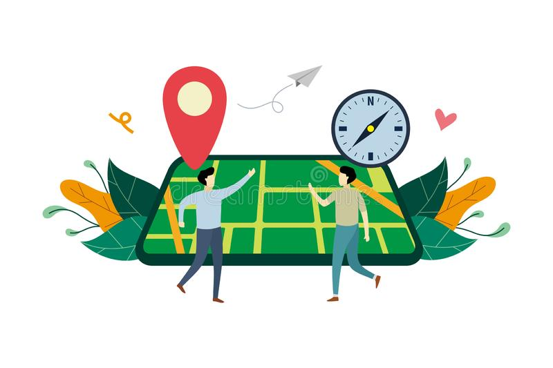 GPS navigation system, location on the city map flat illustration with small people concept vector template, suitable for. Background, landing page, ui, ux stock illustration