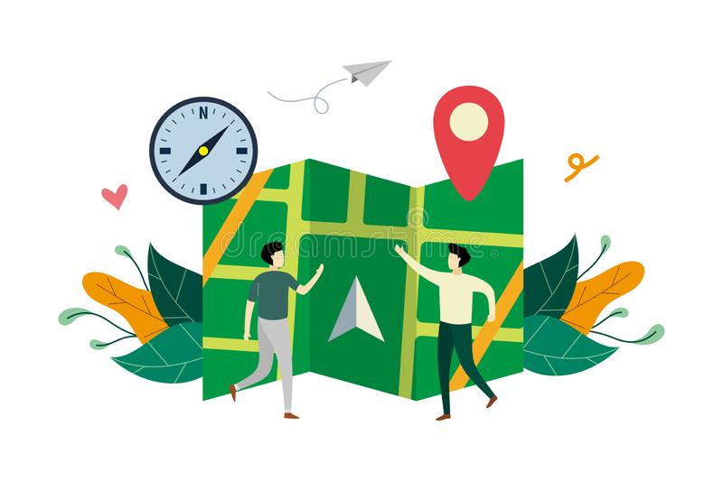 GPS navigation system, location on the city map flat illustration with small people concept vector template, suitable for. Background, landing page, ui, ux royalty free illustration