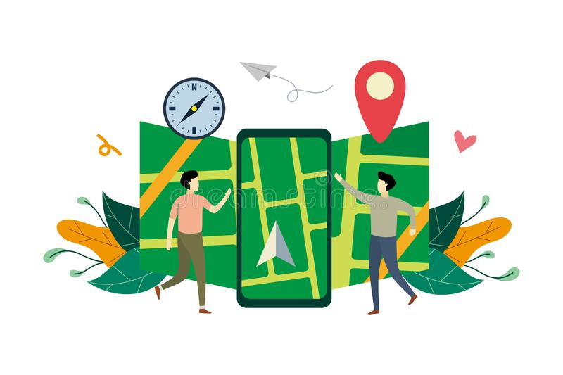 GPS navigation system, location on the city map flat illustration with small people concept vector template, suitable for. Background, landing page, ui, ux vector illustration