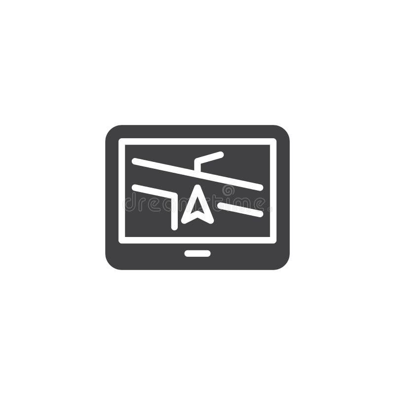 Gps navigation system vector icon. Filled flat sign for mobile concept and web design. Car navigation device glyph icon. Symbol, logo illustration. Pixel royalty free illustration