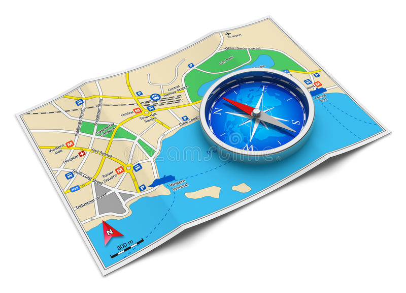 GPS navigation, travel and tourism concept. GPS navigation, tourism and travel route planning concept: color city map and blue magnetic compass icon on white stock illustration