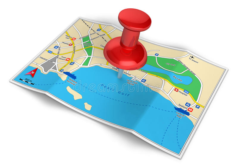 GPS navigation, travel and tourism concept. GPS navigation, tourism and travel route planning concept: color city map and red pushpin icon isolated on white royalty free illustration