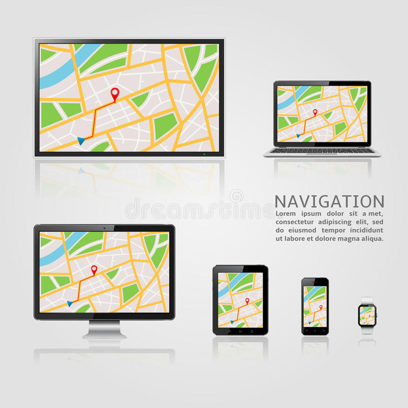 GPS-Navigations-Schablone vektor abbildung