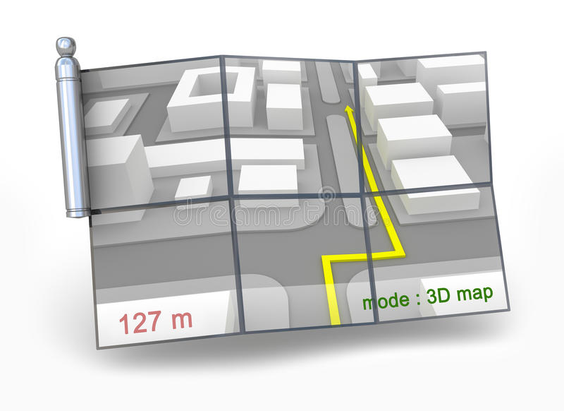 Download GPS navigator and 3D map stock illustration. Image of help - 17431617