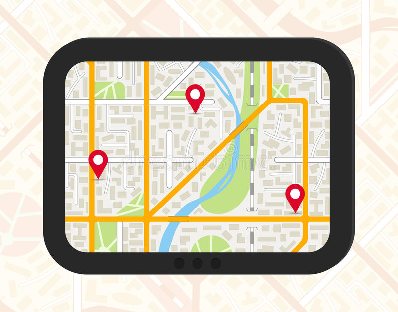 GPS navigator with city map and pinpoints. GPS navigator with generic city map and pinpoints. EPS10 vector illustration in flat style royalty free illustration