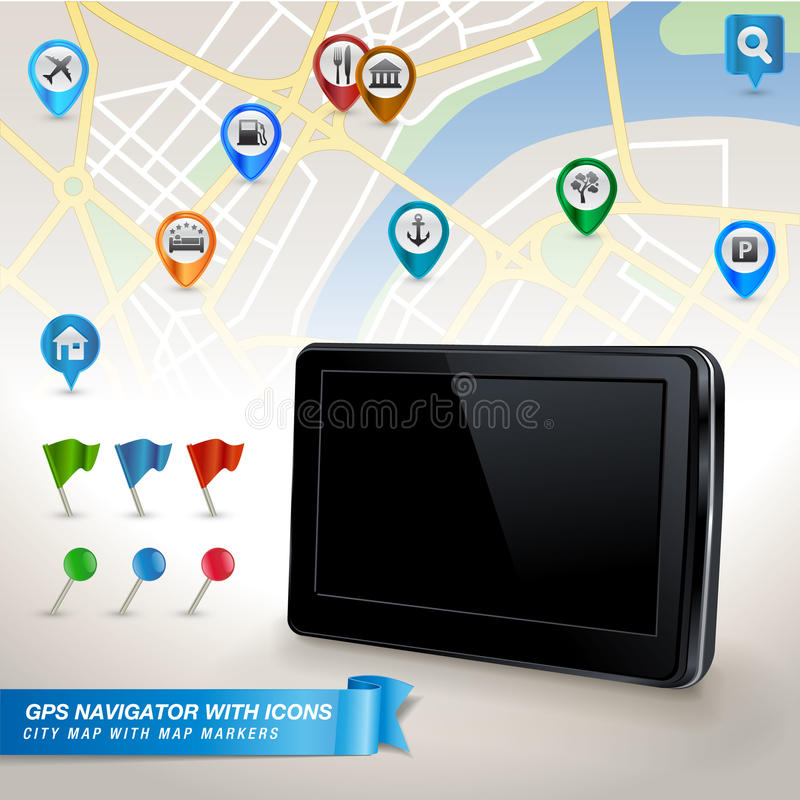 Download GPS Navigator With City Map And Set Of GPS Icons Stock Vector - Image: 25787658