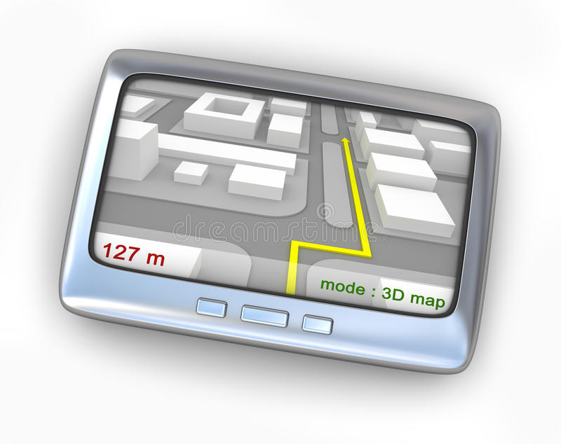 Download GPS Navigator With Map Front View Stock Illustration - Image: 18101066