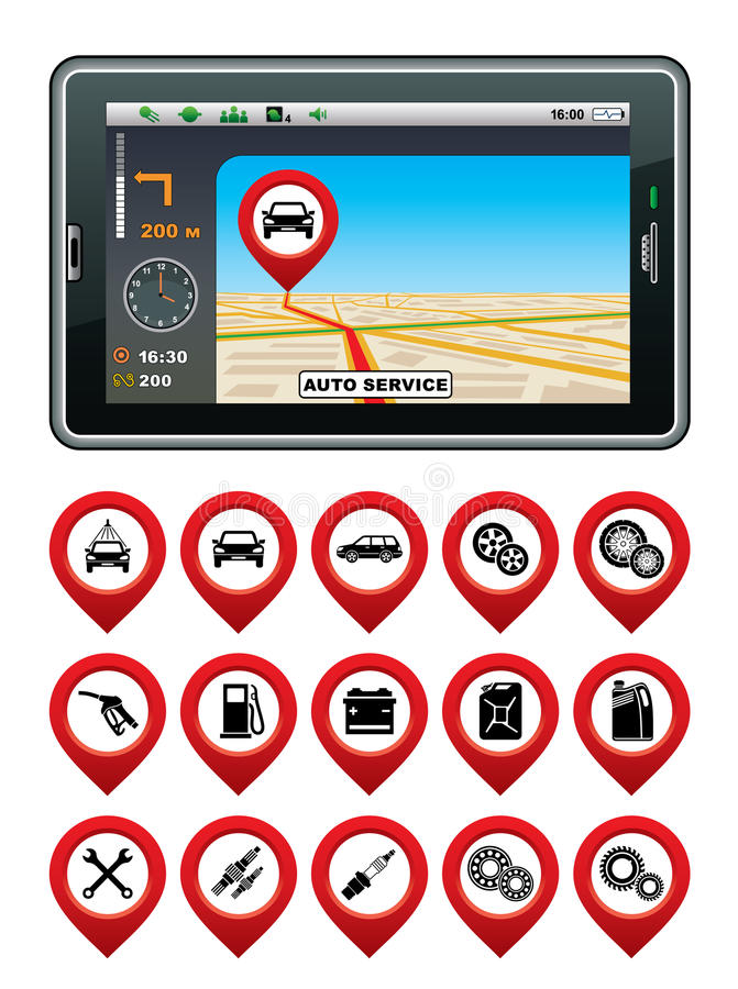 Download GPS Navigator With The Pointer Autoservice. Stock Vector - Image: 33159295