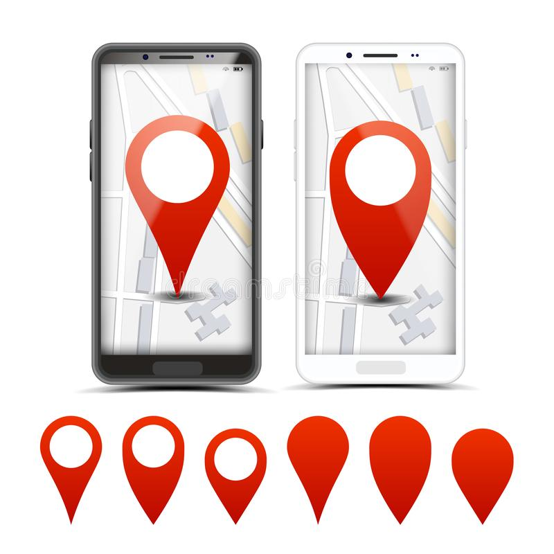 GPS Navigator Red Pointers, Vector Markers Set royalty free illustration