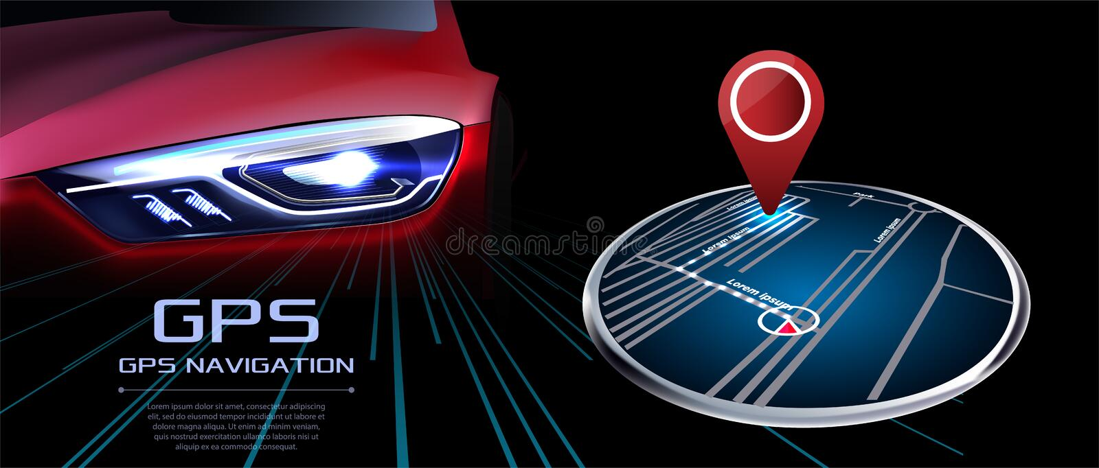 GPS navigator vector. Against the background of the red realistic car stock illustration