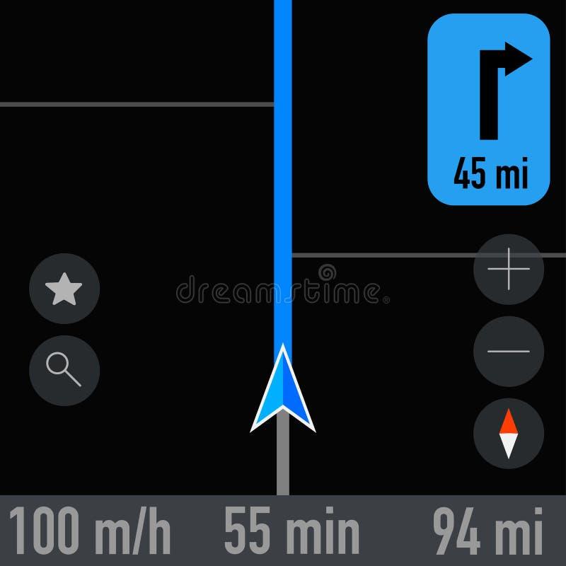 Gps navigatorschermopname van actieve route vector illustratie