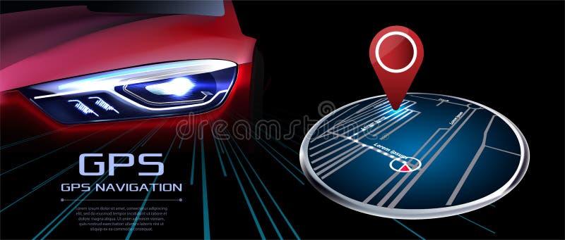GPS-Navigatorvektor Vor dem hintergrund des roten realistischen Autos stock abbildung