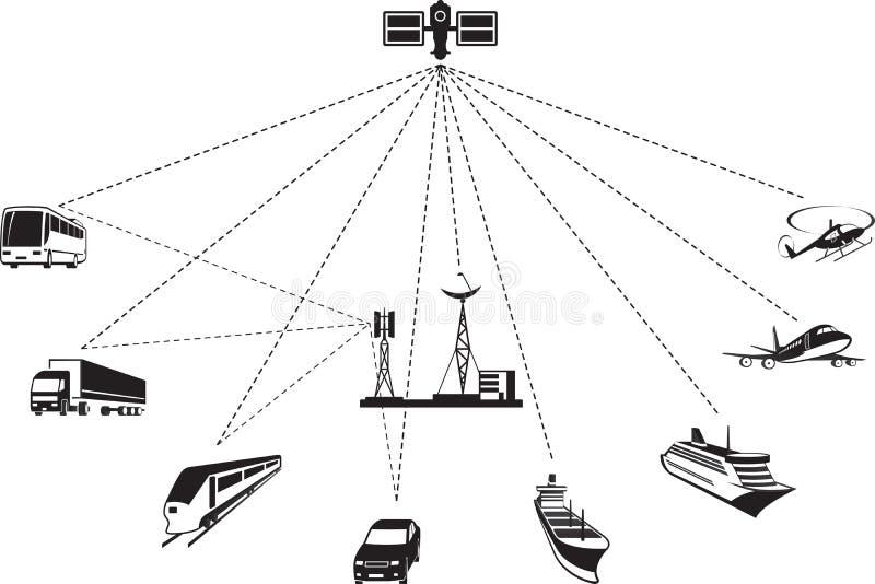 GPS navigering av passageraren och frakttransport royaltyfri illustrationer