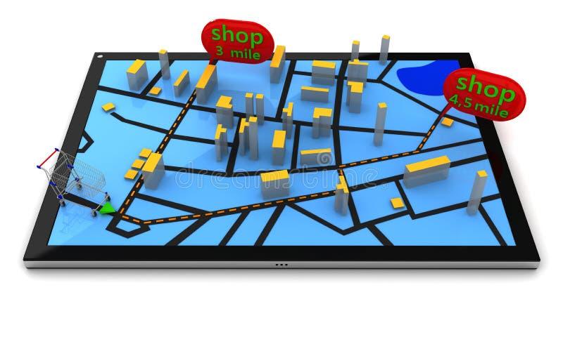 GPS navigering i minnestavlaPC vektor illustrationer