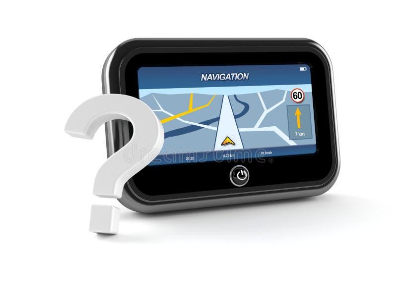 GPS navigering med frågefläcken royaltyfri illustrationer