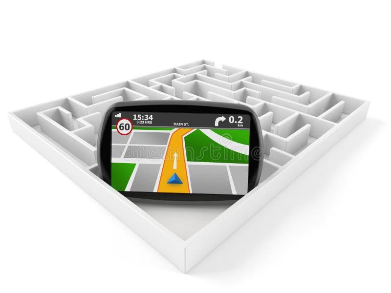 GPS navigering med labyrint vektor illustrationer