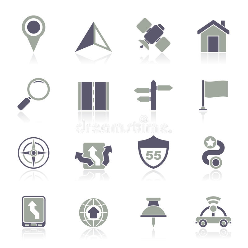 Gps-, navigering- och vägsymboler royaltyfri illustrationer