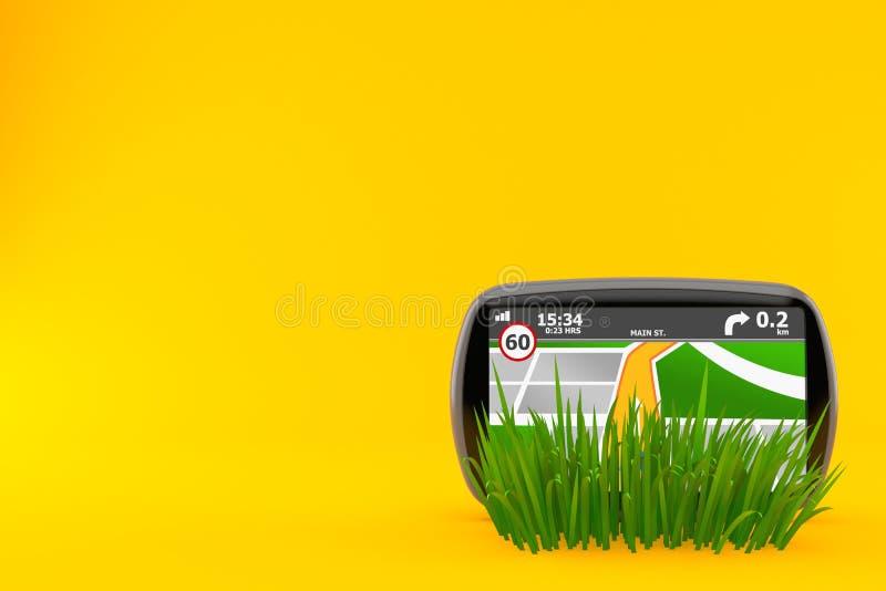 GPS navigering på gräs stock illustrationer