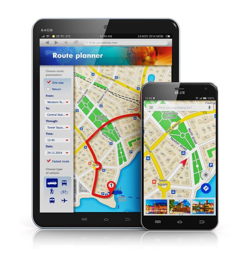 GPS navigering på mobila enheter royaltyfri illustrationer
