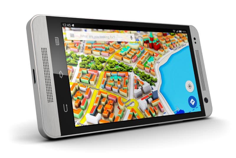 GPS navigering på smartphonen stock illustrationer