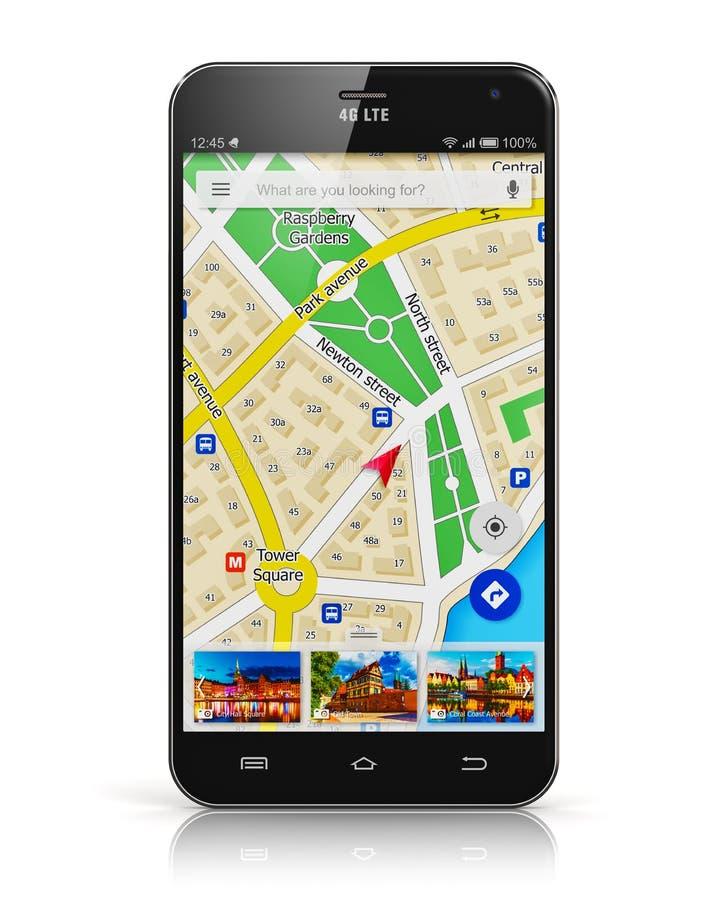 GPS navigering på smartphonen royaltyfri illustrationer
