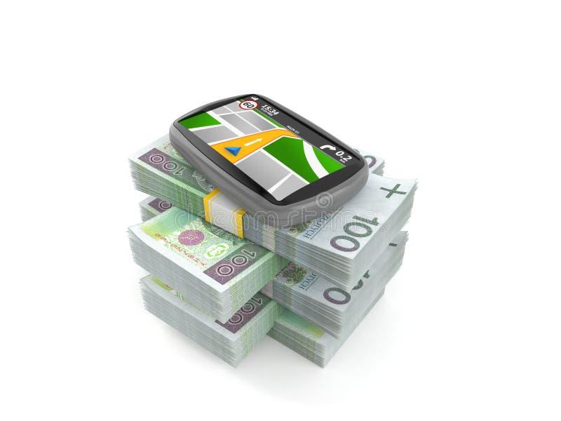 GPS navigering p? bunt av pengar royaltyfri illustrationer