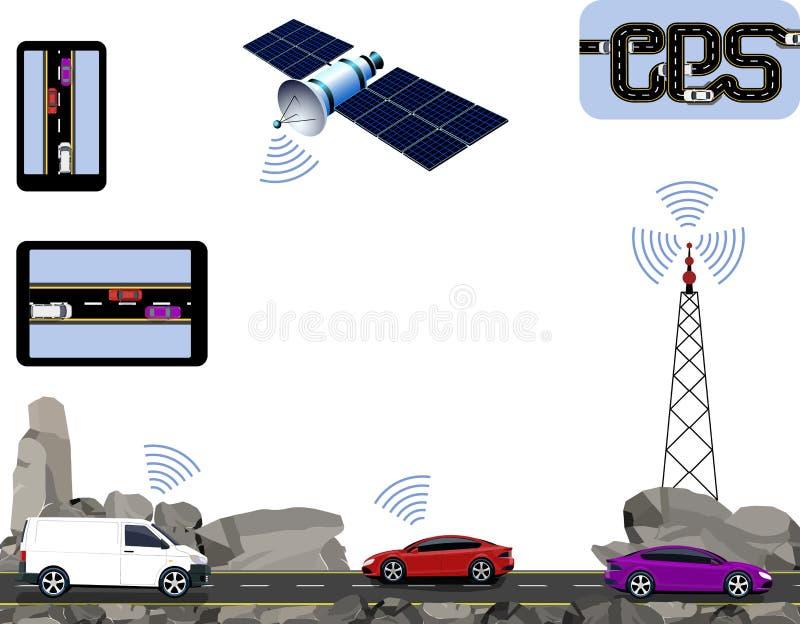 GPS navigering Vägen huvudvägar längs vaggar, bilar, satelliten, navigatörer, torn Resa med bilen illustration royaltyfri illustrationer