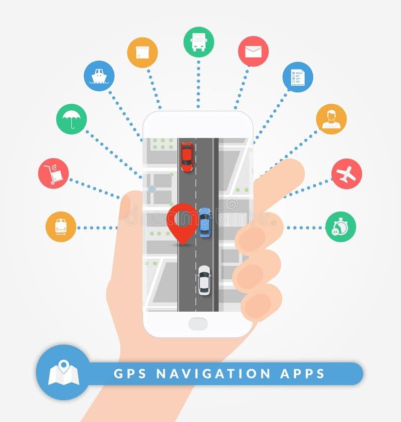 GPS navigeringapps på mobiltelefonen Vägnavigeringbegrepp med det stadsöversikten, stiftet och vägen med bilar vektor illustrationer