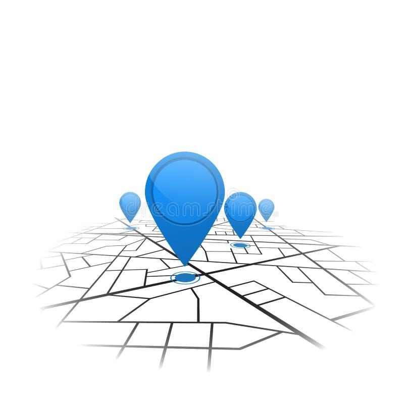 Gps-navigeringbakgrund Färdplan som isoleras på vit vektor vektor illustrationer