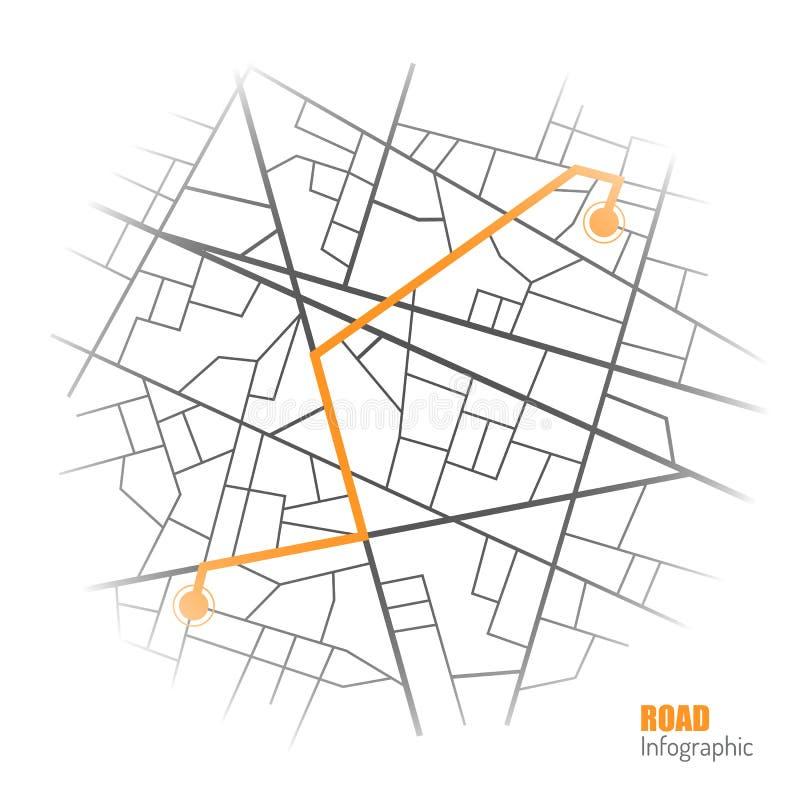 Gps-navigeringbakgrund Färdplan som isoleras på vit vektor stock illustrationer