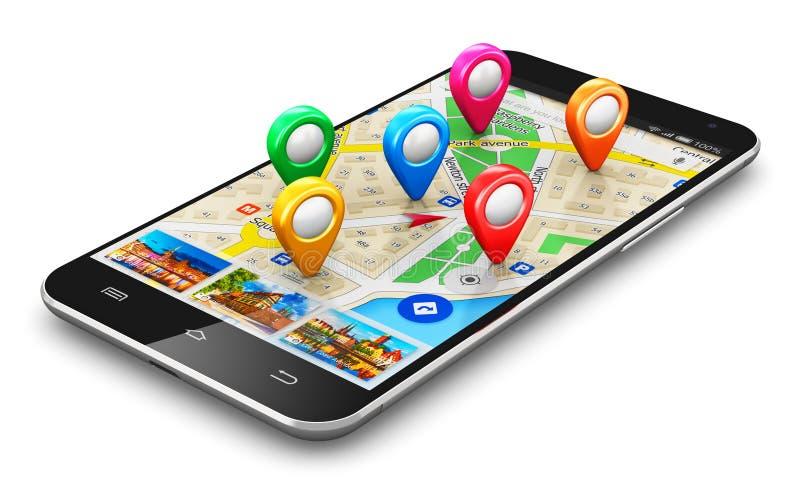 GPS navigeringbegrepp royaltyfri illustrationer