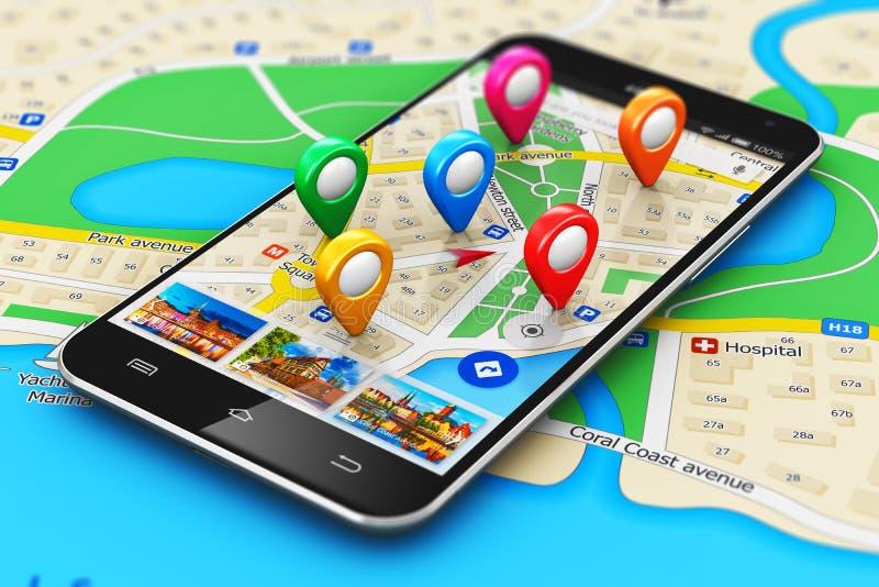 GPS navigeringbegrepp vektor illustrationer