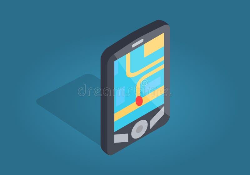 GPS navigeringmanöverenhet med läge på telefonen royaltyfri illustrationer