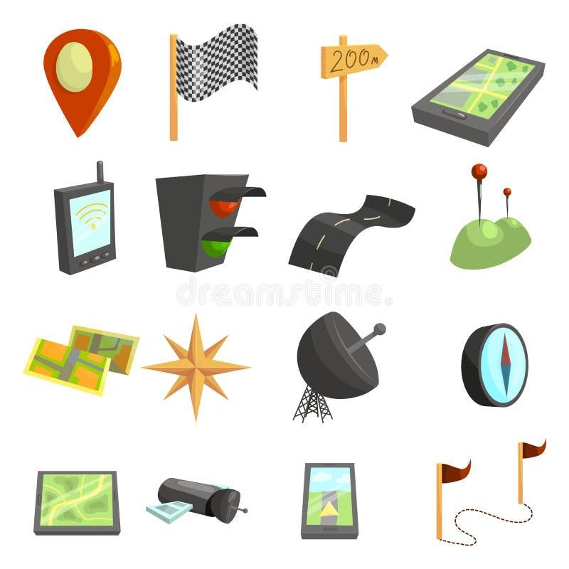 GPS navigeringsymboler uppsättning, tecknad filmstil stock illustrationer