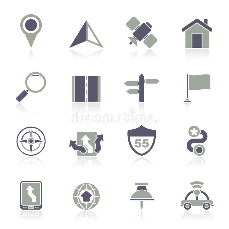 Gps, nawigaci i drogi ikony, royalty ilustracja